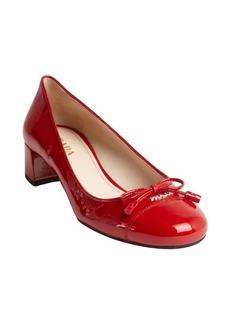 Prada red patent leather cap toe heel pumps