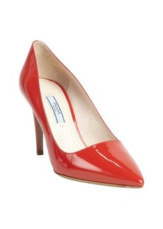 Prada red patent leather pointed toe pumps
