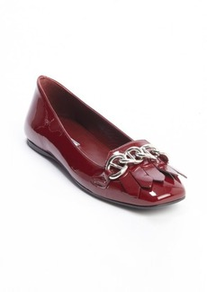 Prada red patent leather tassel and chain detail loafers