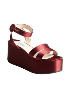 Prada red silk satin open toe wedge platforms