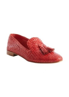 Prada red woven leather tassel loafers