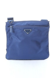 Prada royal blue nylon flat zip top shoulder bag
