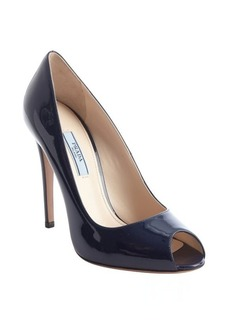 Prada royal blue patent leather peep toe pumps
