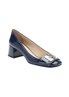 Prada royal blue patent leather twistlock detail pumps