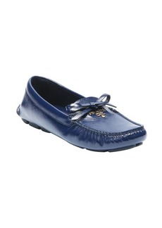 Prada royal patent leather logo tie detail moc loafers