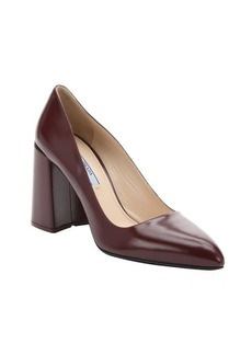 Prada ruby red leather block heel pumps