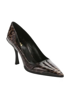 Prada sable cheetah print patent leather pumps