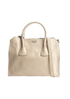 Prada sand brown leather convertible tote