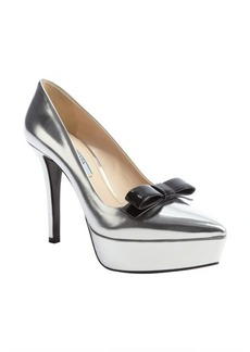 Prada silver and black leather bow detail platform pumps