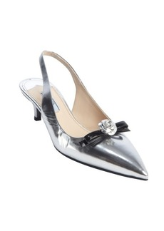 Prada silver and black metallic leather slingback bow detial kitten pumps