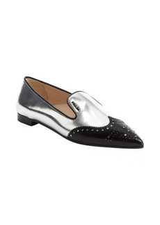 Prada silver and black patent leather tooled wingtip flats