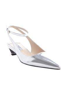 Prada silver metallic leather ankle strap kitten heels