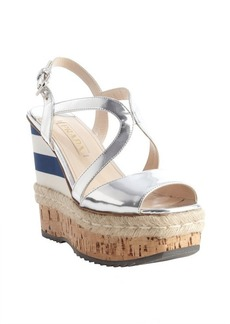 Prada silver patent leather strappy multi-color striped accent wedge sandals