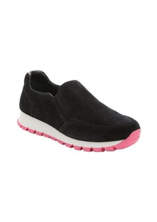 Prada Sport black and pink suede slip-on sneakers