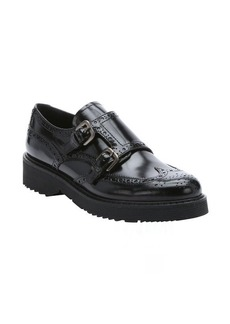 Prada Sport black leather dual monk strap platform loafers