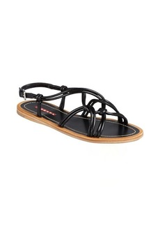 Prada Sport black leather knotted double strapped sandals