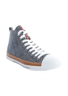 Prada Sport denim blue and tan suede lace up sneakers