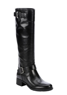 Prada Sport nero leather buckle detail riding boots