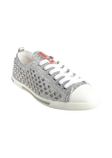Prada Sport silver glitter and spiked sneakers
