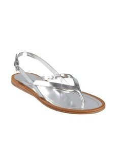 Prada Sport silver leather crisscross strapped sandals