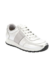 Prada Sport silver leather lace-up sneakers