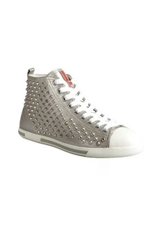 Prada Sport silver leather studded high-top sneakers