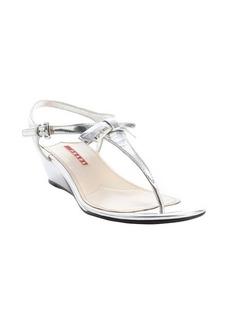 Prada Sport silver patent leather 'Vernice' wedge sandals