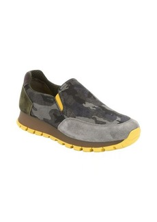 Prada Sport smoke and yellow suede trimmed nylon slip-on sneakers