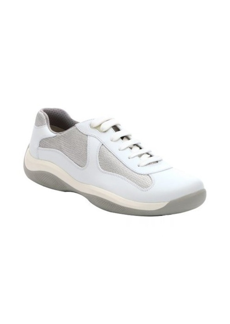 prada prada sport white canvas and leather lace up