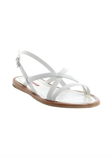 Prada Sport white leather crisscross strap sandals