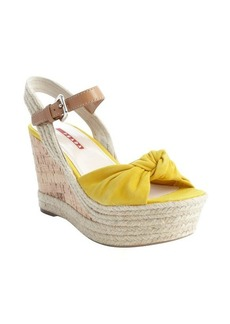Prada Sport yellow leather knotted cork and jute wedge sandals