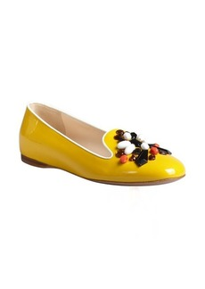 Prada sun yellow beaded patent leather flats