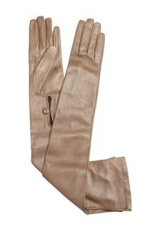 Prada tan leather opera gloves