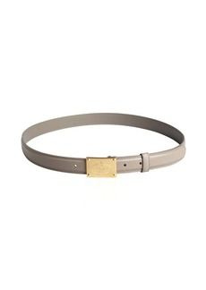 Prada taupe saffiano leather logo plaque belt