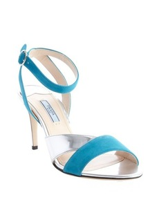 Prada teal and silver suede leather strappy sandals