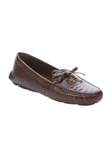 Prada tobac croc embossed leather 'Stampa Cocco' slip-on loafers