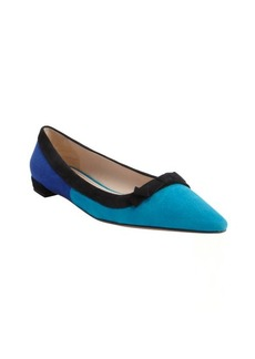 Prada turquoise and blue and black suede pointed toe flats