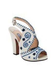 Prada Whip-Stitched Slingback Sandals