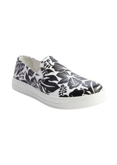 Prada white and black hawaiian flower printed slip on loafers