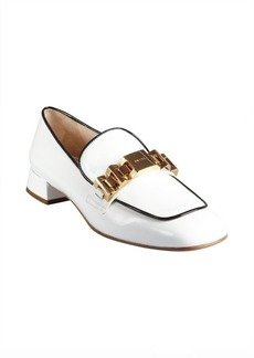 Prada white and black patent leather chain details loafers