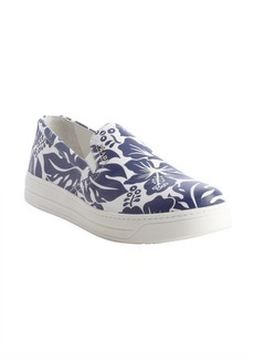 Prada white and blue hawaiian flower printed slip on loafers