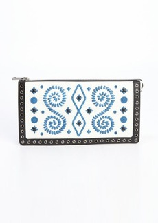 Prada white and blue leather woven detail clutch