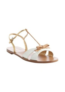 Prada white and gold leather bow tie detail strappy open toe sandals