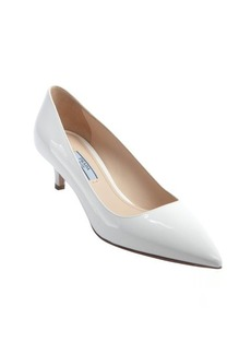 Prada white patent leather kitten pumps