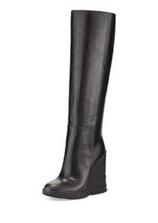 Rubber-Wedge Knee Boot   Rubber-Wedge Knee Boot