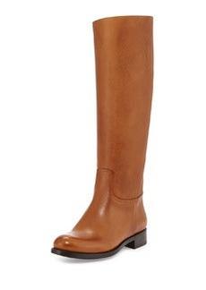Saffiano Leather Riding Boot, Caramel   Saffiano Leather Riding Boot, Caramel
