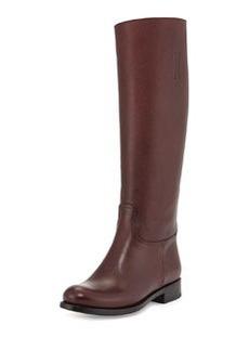 Saffiano Leather Riding Boot, Granata   Saffiano Leather Riding Boot, Granata