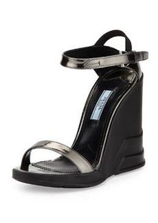 Spazzolato Ankle-Wrap Wedge Sandal, Anthracite   Spazzolato Ankle-Wrap Wedge Sandal, Anthracite