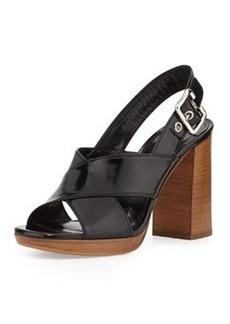 Spazzolato Leather Crisscross Sandal, Nero   Spazzolato Leather Crisscross Sandal, Nero
