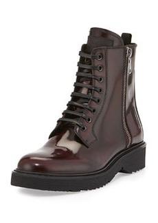 Spazzolato Side-Zip Combat Boot, Granato   Spazzolato Side-Zip Combat Boot, Granato